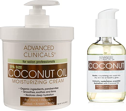 Advanced Clinicals Coconut Oil Body Cream And Coconut Body Oil Skin Care Set For Men And Women Large 16Oz Cream For Face And Body And 4Oz Body Oil Helps With Stretch Marks Scars And Blemishes