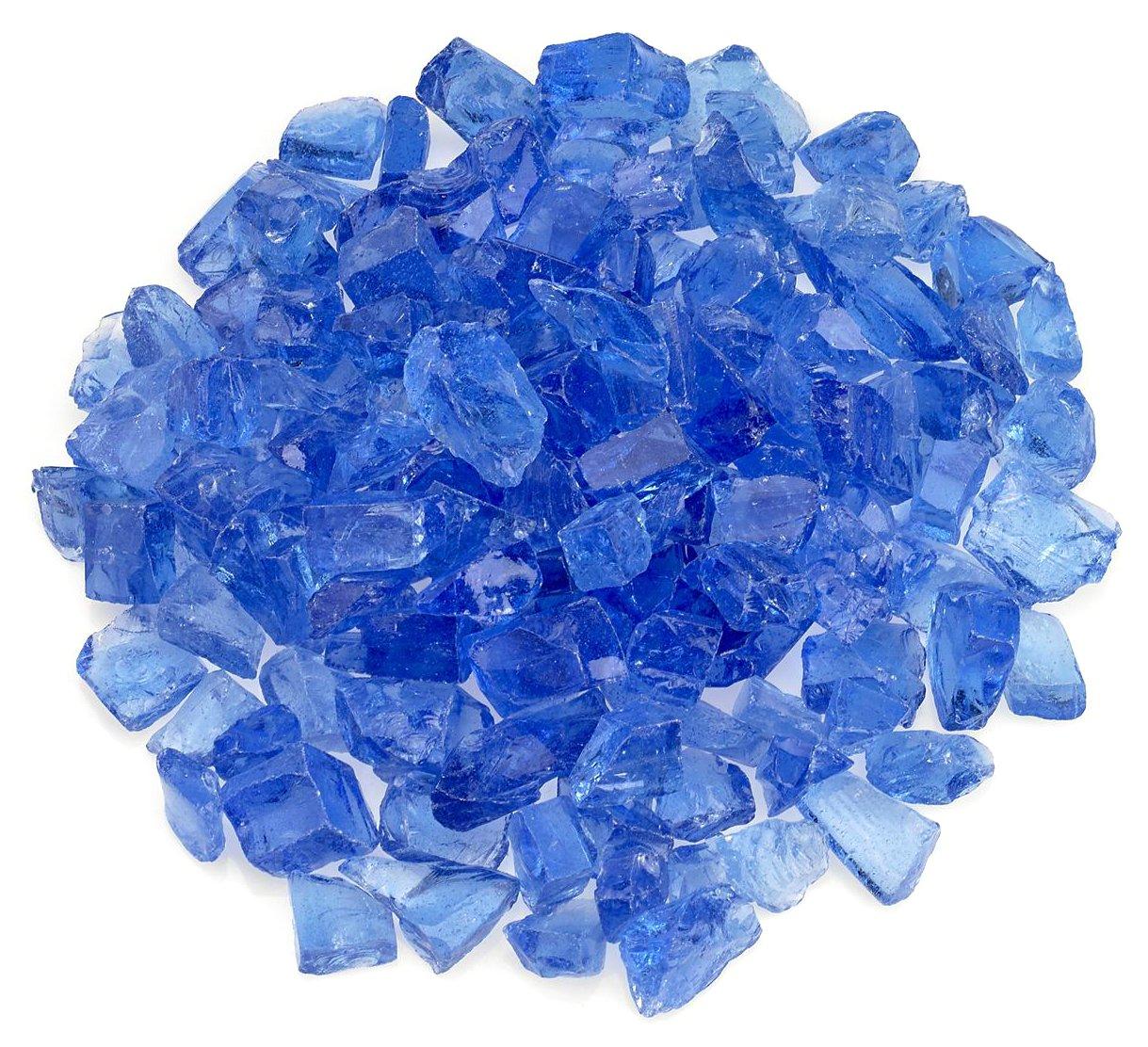 American Fireglass Light Blue Recycled Fire Pit Glass - Medium (18-28Mm), 55 lb. Bag by American Fireglass