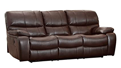 Homelegance Pecos Modern Design Power Double Reclining Sofa Leather Gel  Match, Brown