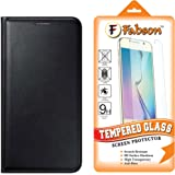 Fabson Combo of Leather Flip Cover & Tempered Glass for Lyf Water F1 Flip Cover Case - Black