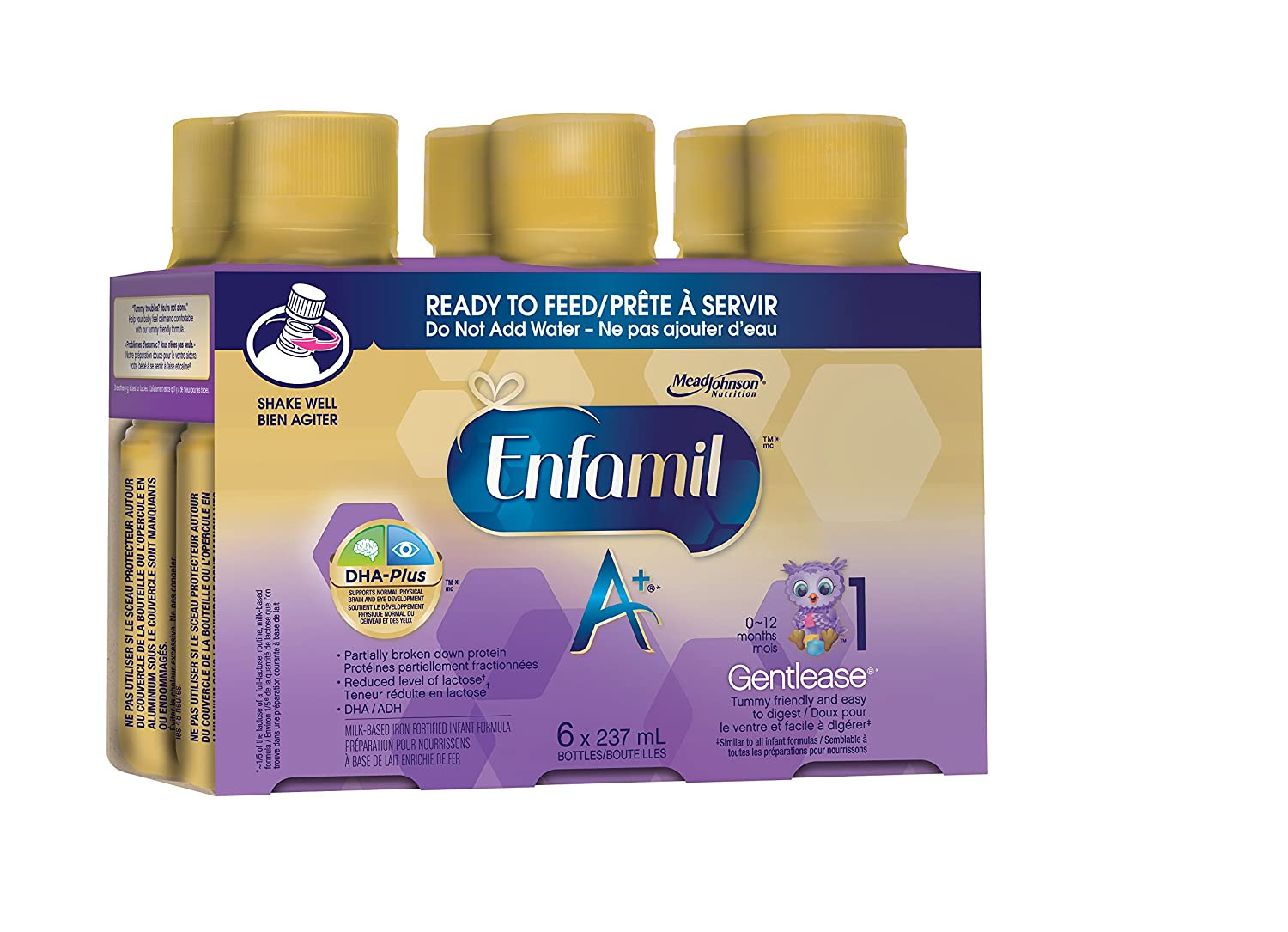 Enfamil A+ Gentlease Infant Formula, Ready to Feed Bottles, 237mL, 6 pack Mead Johnson Nutrition