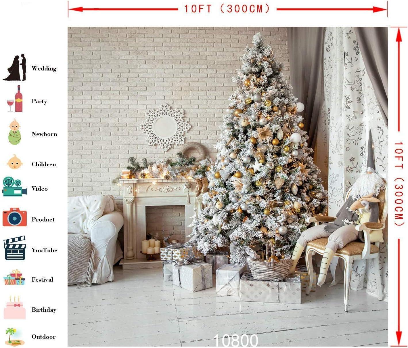 WOLADA 10x10ft Christmas Backdrop Vinyl Christmas Photography Backdrops Photo Studio Background 10800