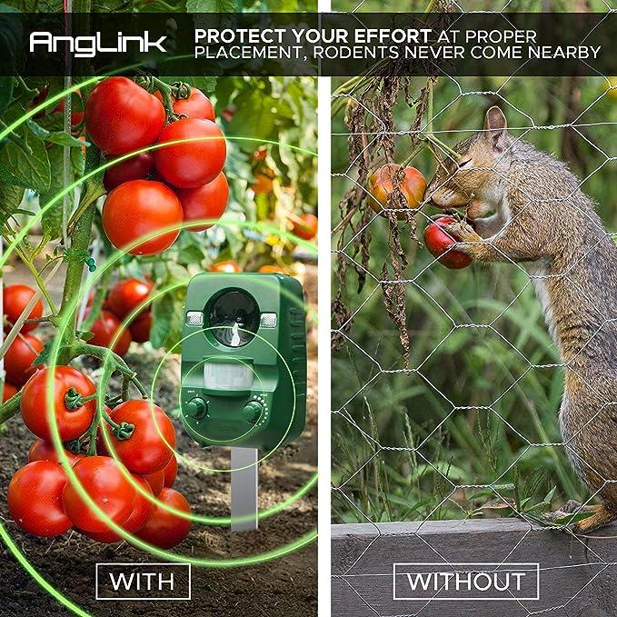AngLink 2 x Repelente de Gatos, Repelente Ultrasónico para Animales, para Exterior, Resistente al Agua. Detector de Perros, Gatos, etc con estaca ...