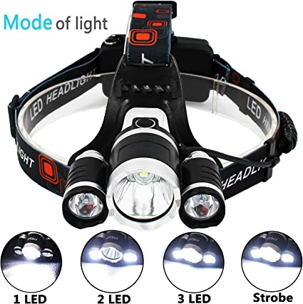 3 LED CREE T6 Rechargeable Head Torch Headlamp Light 6000 LM Lumens