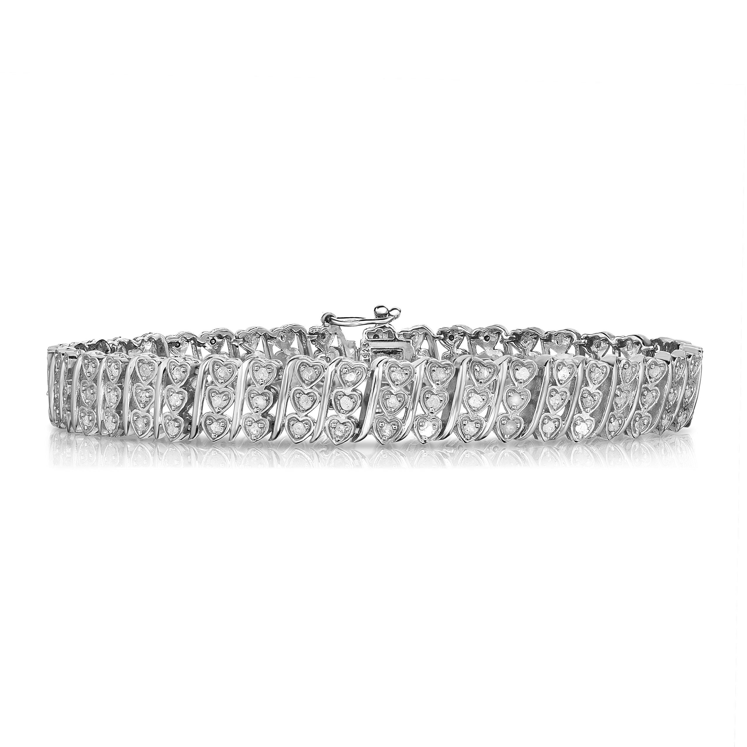 NATALIA DRAKE Blowout Sale Three Times The Love 1 CTW Diamond Triple Row Heart 7'' Bracelet in Sterling Silver