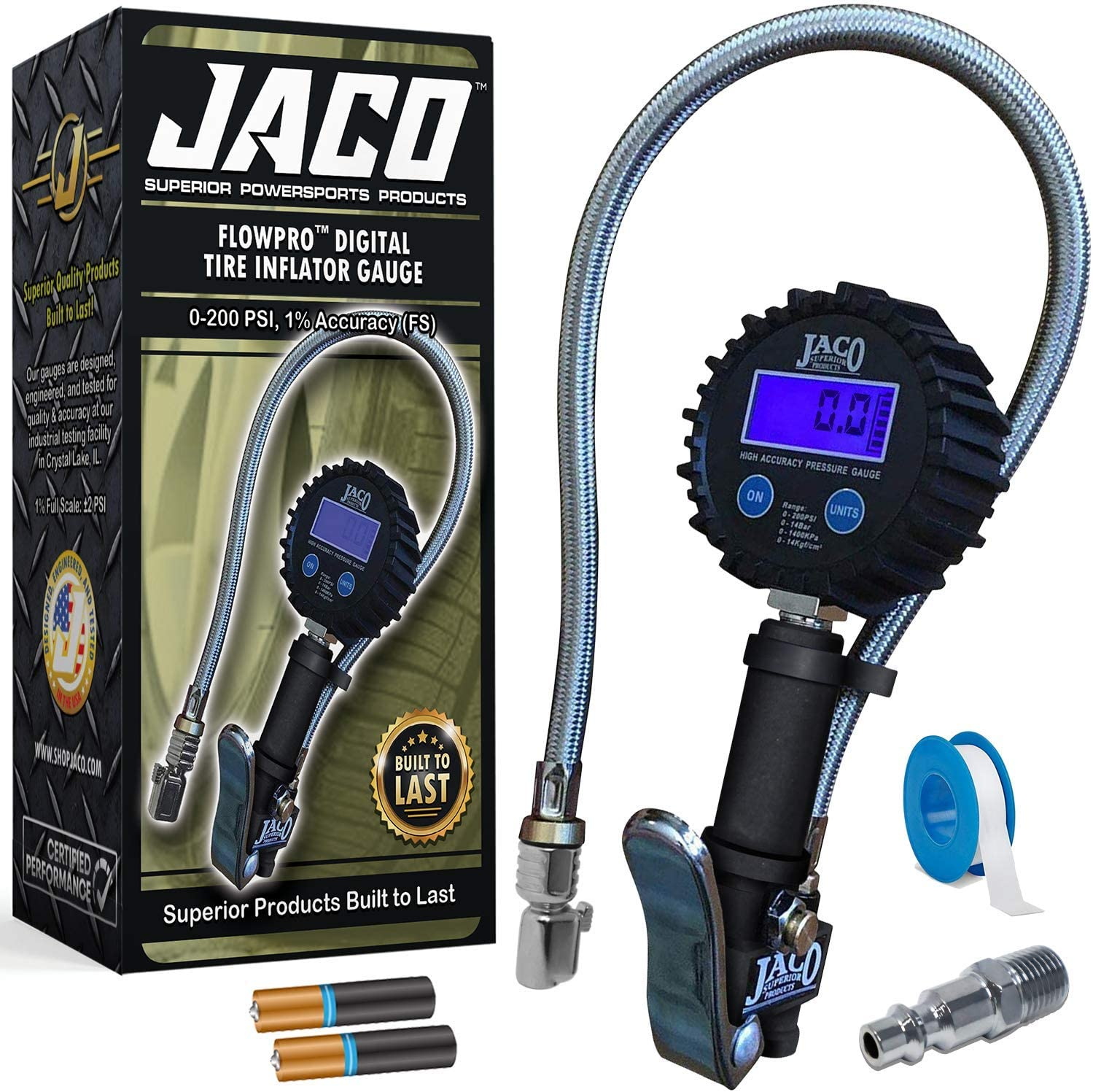 JACO FlowPro 2.0 Digital Tire Inflator Gauge 200 PSI
