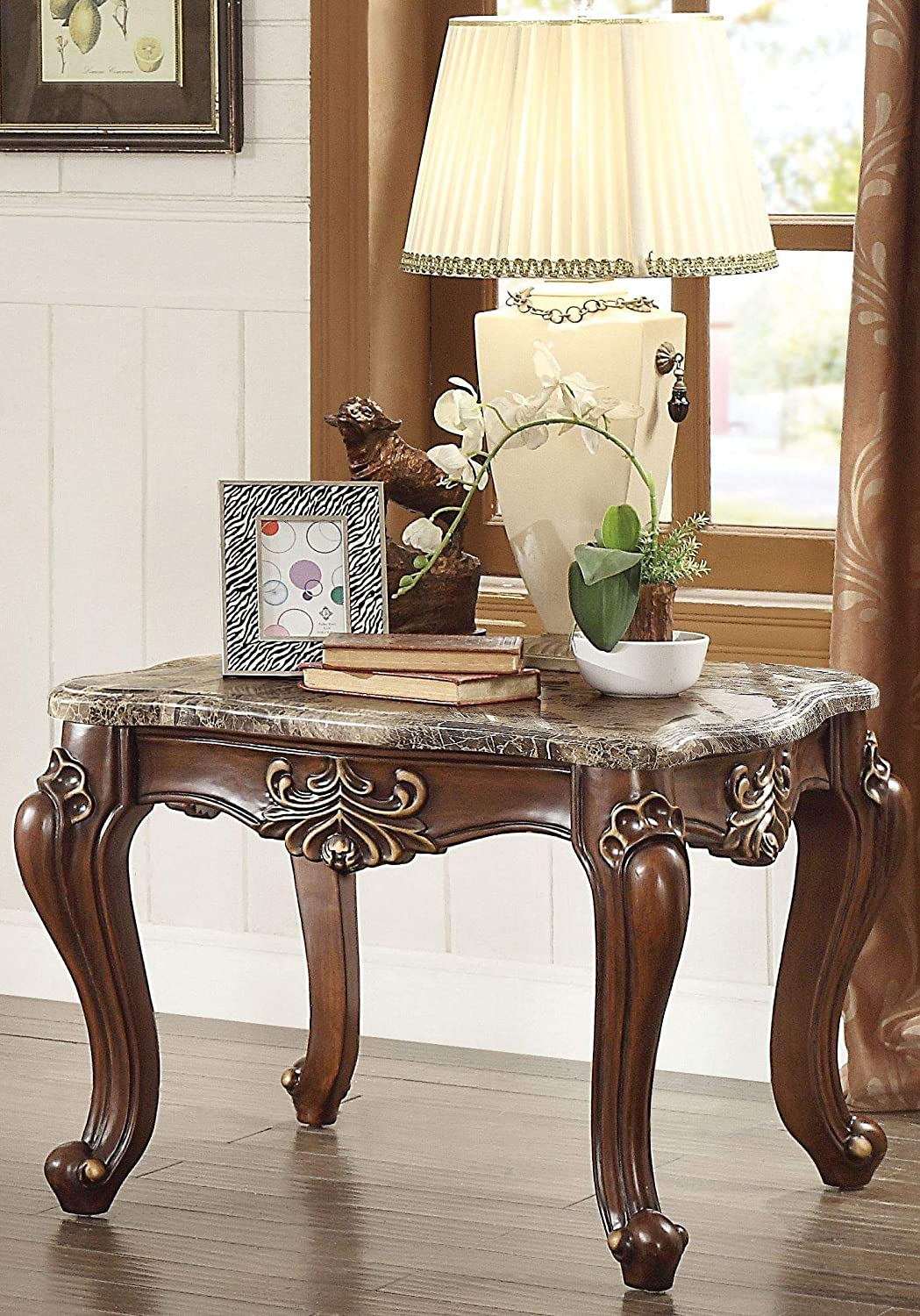 Walnut Q-Max SH1620 Marble Top Wooden End Table with Queen Anne Style Legs