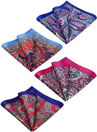 Men/'s Purple /& Yellow Paisley Floral Woven Jacquard 100/% Silk Pocket Square Formal Tuxedo Suit Pocket handkerchief 22cm x 22cm