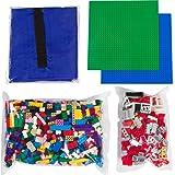 Building Bricks - 1000 Pc Bulk Blocks + 324 Piece Windows, Doors, and Roof Tiles set - Total of 1324 Piece Bulk Blocks | 2 Baseplates | Drawsting Play Mat - Tight Fit with Major Brands