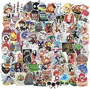 Cute Anime Stickers for Water Bottle, Vinyl Skateboard Laptop Computer Travel Case Car Phone Notebook Luggage Guitar Decal 100Pcs Pack (Miyazaki Hayao)