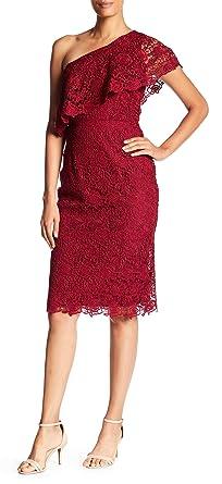 Nanette Lepore One Shoulder Lace Sheath Dress Cranberry Sz