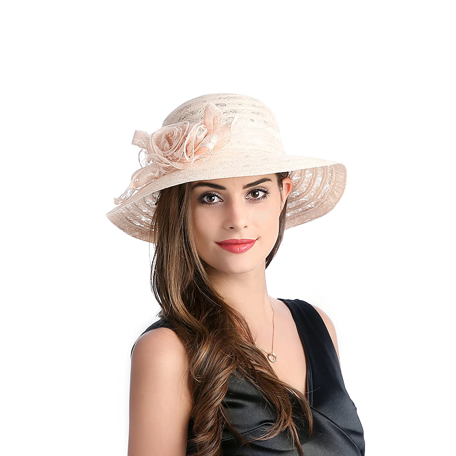 1930s Style Hats | Buy 30s Ladies Hats Dantiya Summer Lace Beach Sun Hat Kentucky Derby Church Dress Bucket Hat $14.99 AT vintagedancer.com