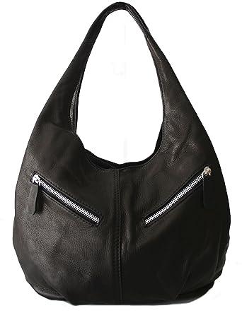 55952fccf6bcf Sa-Lucca echt Leder Handtasche Damentasche Shopper Beuteltasche Ledertasche  schwarz L-a16 MADE IN