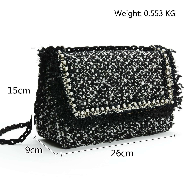 735252d5edbd PACO TORA Shoulder Bag for Women PU Leather Handbags Tweed Chain Bag  Fashion Crossbody Bag - Classic Collection