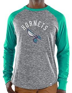 873e58191e6 Majestic Charlotte Hornets NBA Exposure Men s Long Sleeve Gray Slub Shirt