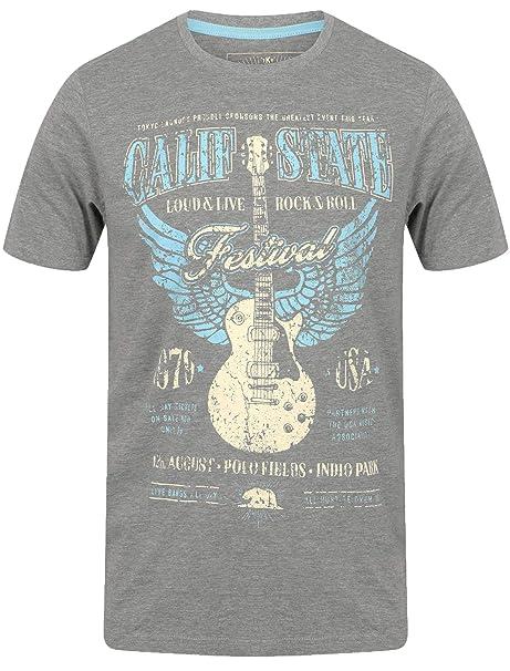 Tokyo Laundry Hombres Camiseta Short Sleeved tee Top Guitar Rock USA Algodón Festival: Amazon.es: Ropa y accesorios
