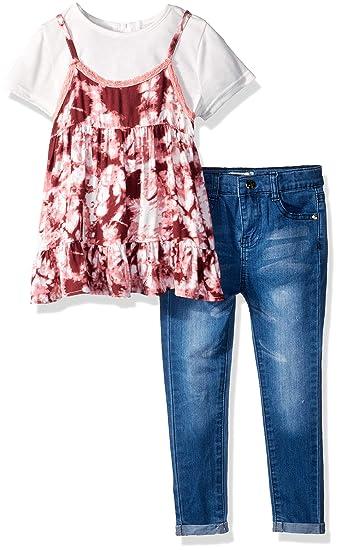 416069c22660 Jessica Simpson Girls' Toddler Tie Dye Fashion Top and Denim Jean, Rapture  Rose,