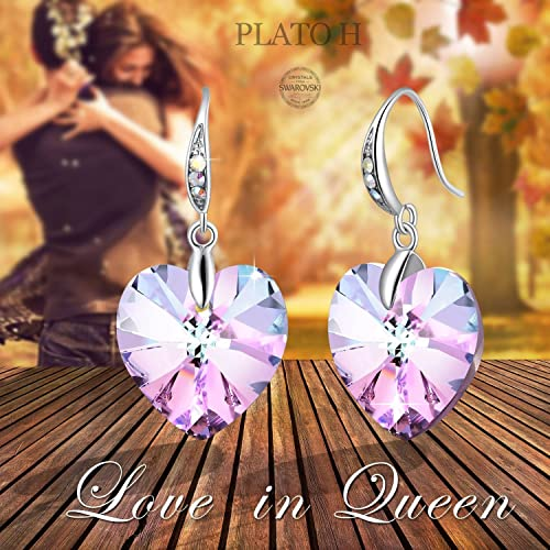 Crystals from Swarovski Heart Earrings Color Changing Crystals Eternal Love Heart Drop Dangle Earrings for Girl, Birthday Birthstone Jewelry Gifts for Women, Gift Packaging