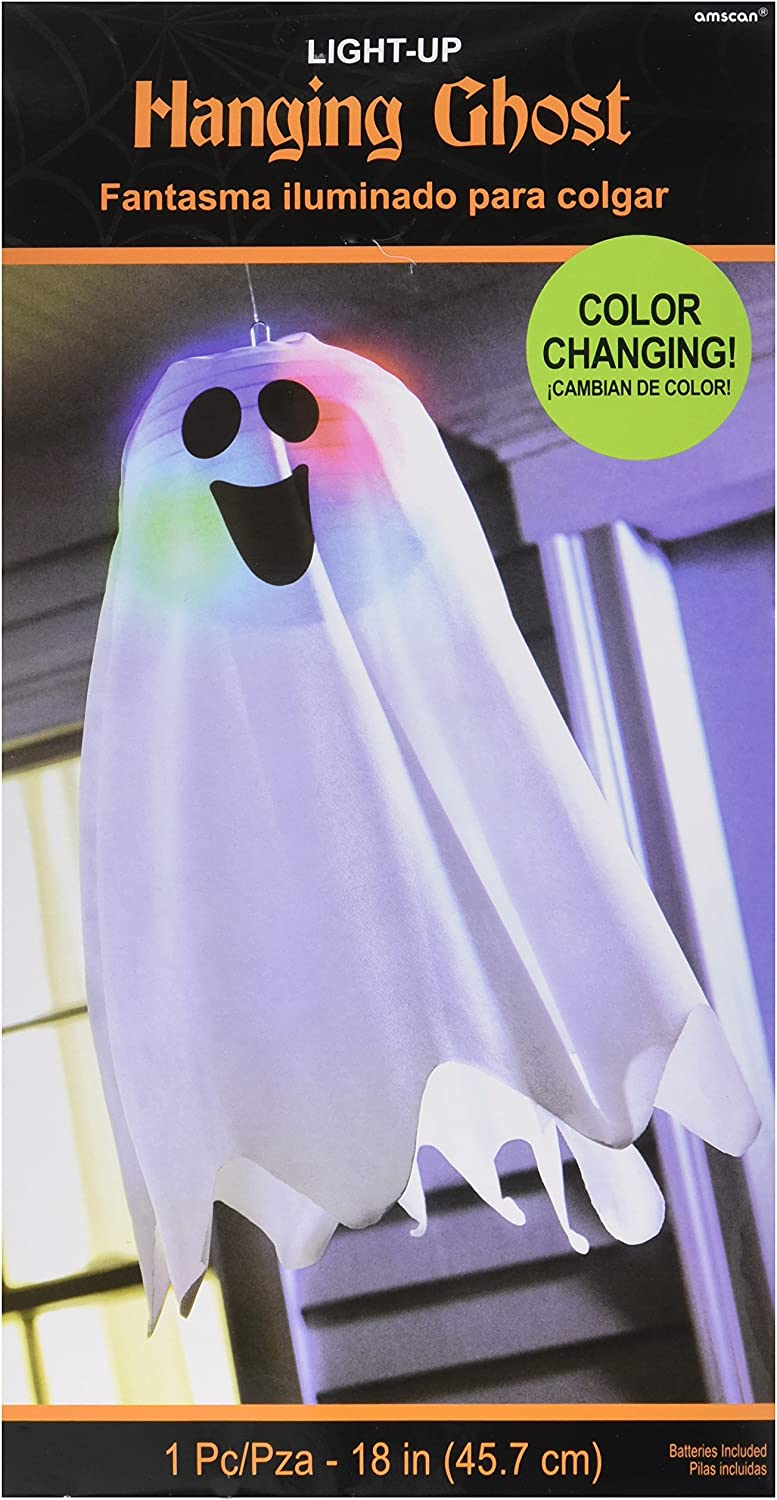 "Amscan 670380 Halloween Light-Up Ghost Fabric Hanging Decoration 18"" x 6"" 1 ct"