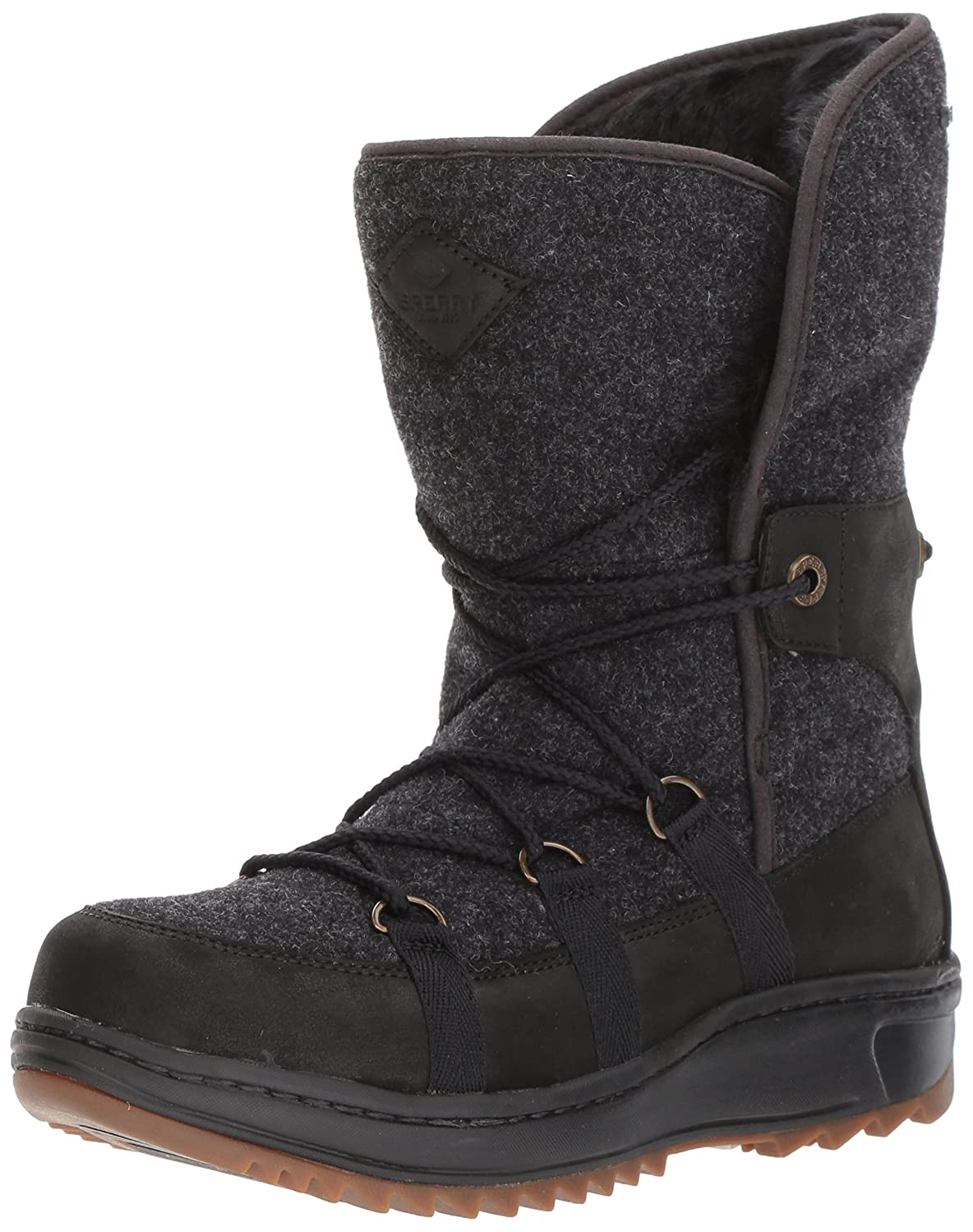 Black Sperry Womens Powder Ice Cap Mid Calf Boots