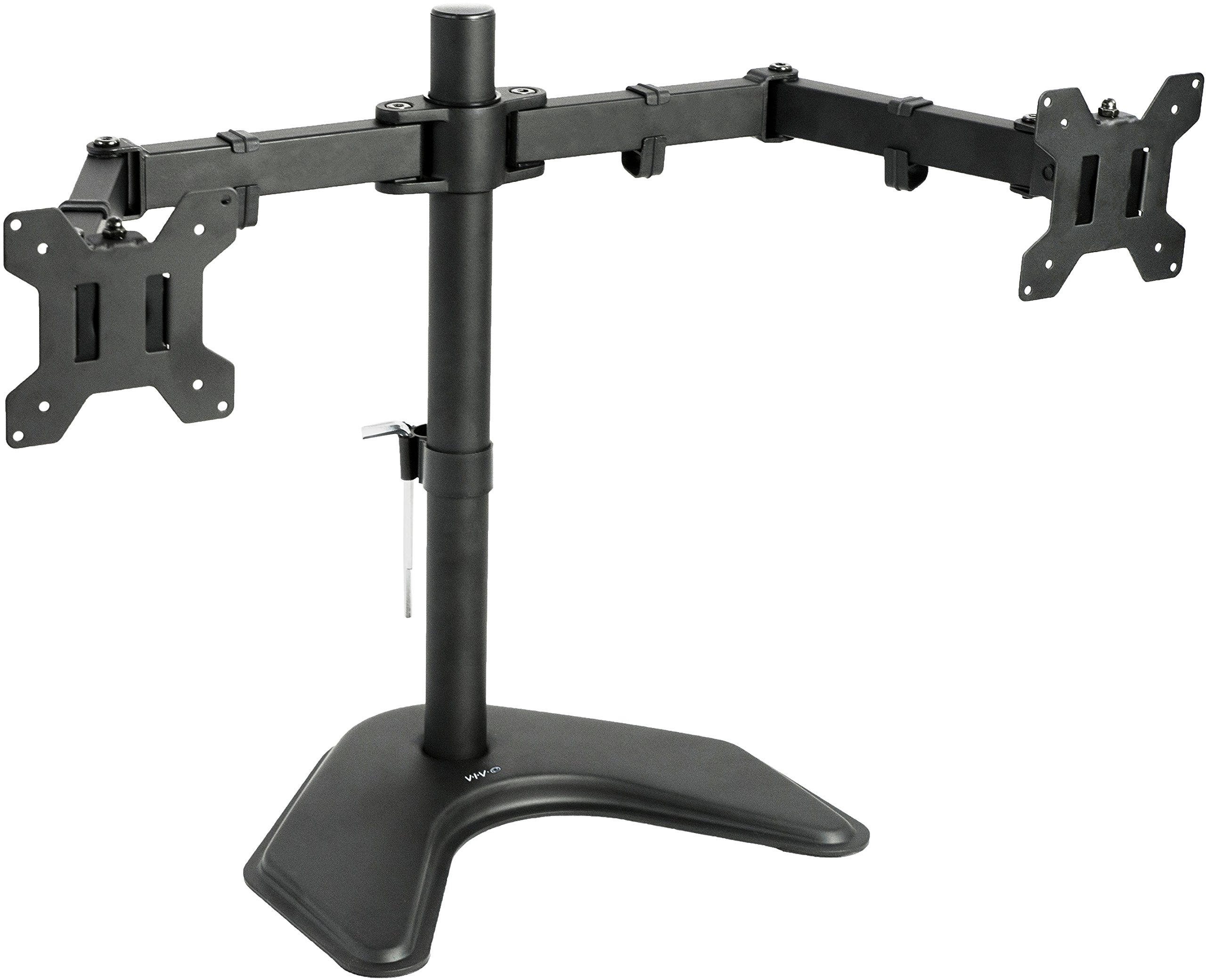 VIVO Dual LCD Monitor Free Standing Desk Mount with Optional Bolt-through Grommet / Stand Heavy Duty Fully Adjustable fits Two Screens up to 27'' (STAND-V002F)