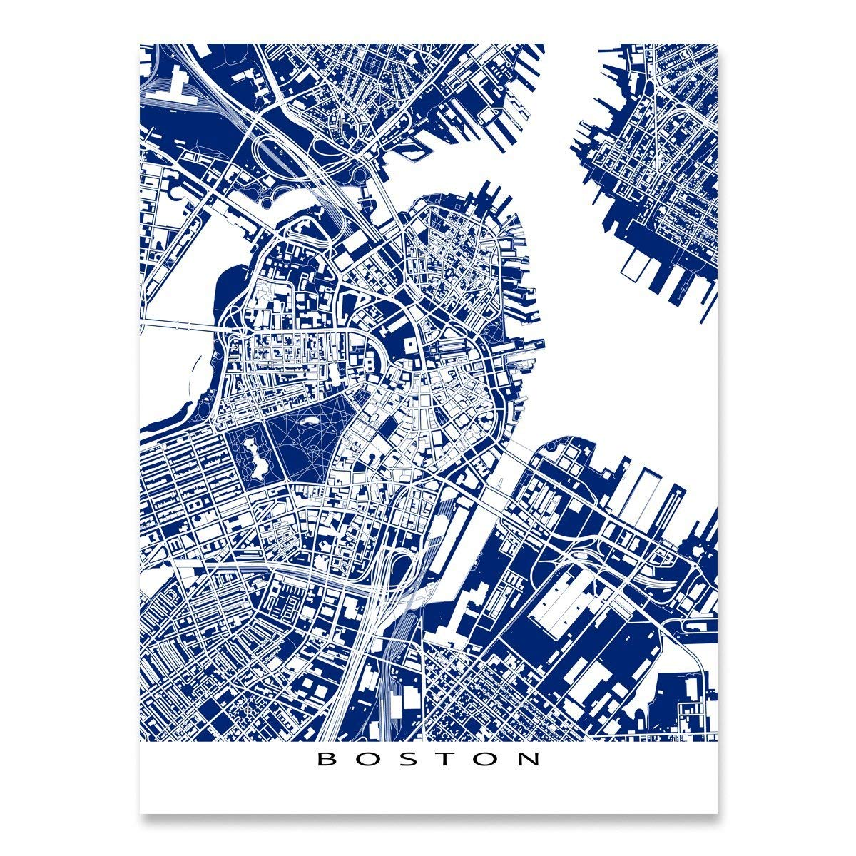 Amazon Com Boston Map Art Print Massachusetts Navy Blue
