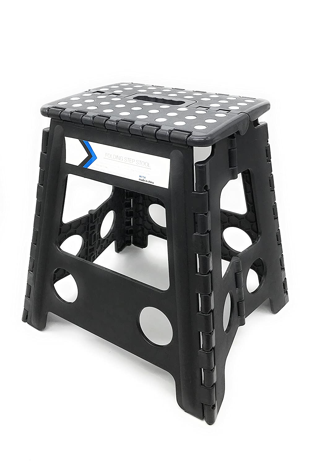 Folding Step Stool 16 Inches Height by Myth with Anti-Slip Surface Great for Kitchen, Bathroom, Bedroom, Kids or Adults Super Strong Holds Up to 330 LBS Black