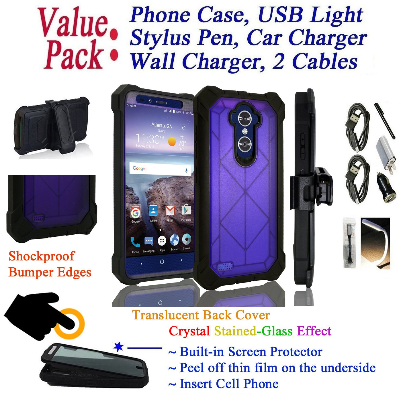 Value Pack + for 6'' ZTE Blade Max 3 blademax3 / MAX BLUE 4G LTE case Phone Case 360° Cover Screen Protector Crystal Holster Kick Stand Shock Bumper (Purple)
