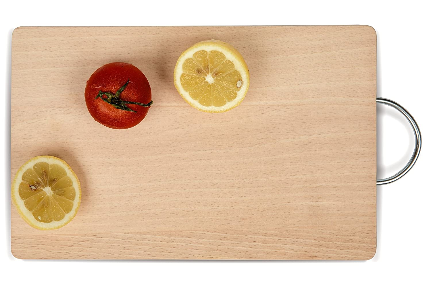 Cutting Board with Metallic Handle – Natural Wood Chopping Board 11.02inch x 7.48 inch x 0.62 inch (19 cm x 28 cm x 1.6 cm L x W x H) Best for Meat, Vegetable, Cheese herb, BBQ. Practic