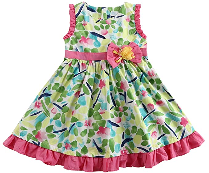 c1f2abf54 Sharequeen Casual Big Size Girls Dress Flower Printing Cotton Bow Tie Child  Wear (10T Height