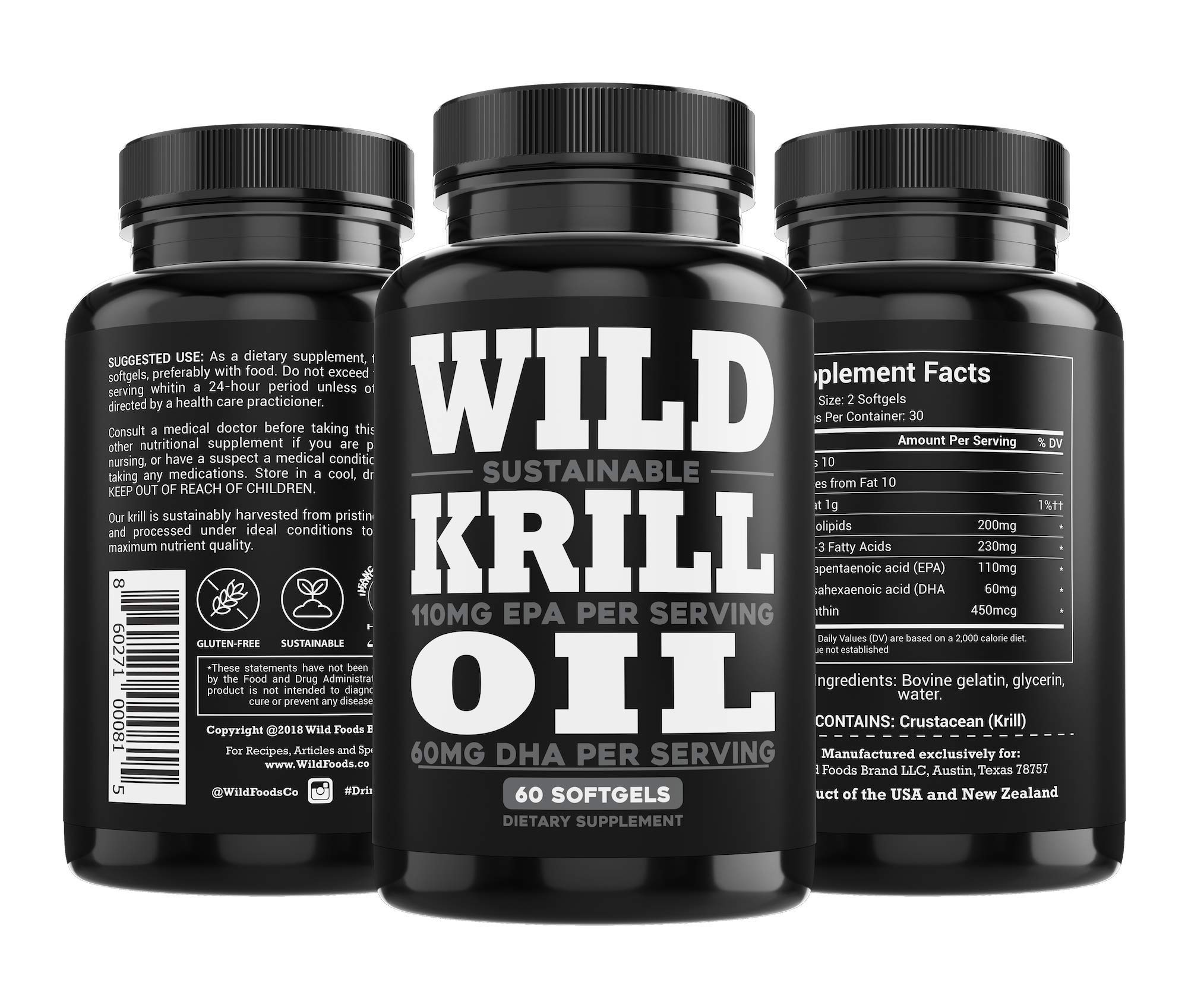 Wild Antarctic Krill Oil - Double Strength, 60 Softgels, 1000mg Omega-3 EPA, DHA, Phospholipids and Astaxanthin - Heavy Metal Tested, Certified Sustainable Sea to Shelf Traceable (2 Bottles) by Wild Foods