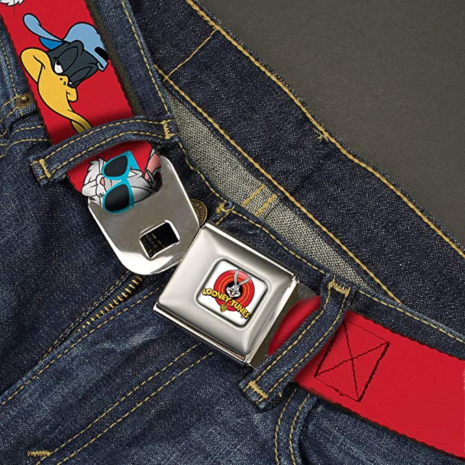 1.5 Wide-24-38 Inches Bugs Bunny//Daffy Duck Hip hop Expression red Buckle-Down Mens Seatbelt Belt Looney Tunes Regular