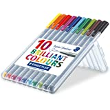 Staedtler 334 Triplus Fineliner Superfine Point Pens, 0.3 mm, Assorted Colours, Pack of 10