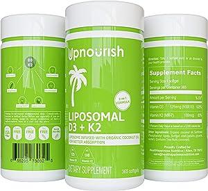 Liposomal Vitamin D3 K2 MK7-365 Softgels | VIT D3 5000 IU + K2 100 mcg with Organic Coconut Oil - K2 D3 Vitamin Supplement - Vitamin D and K Support Immune, Bone, Heart, Mood - Non GMO Gluten Free