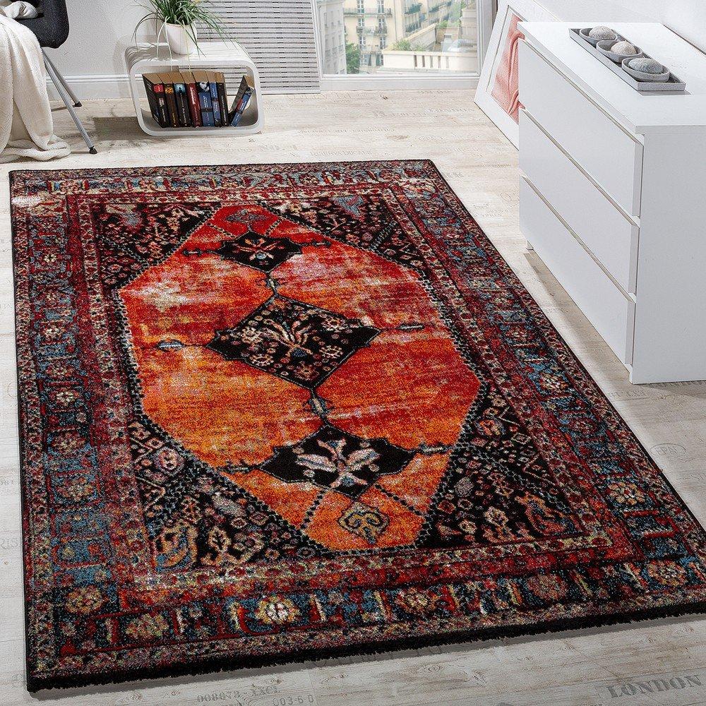 Paco Home Designer Teppich Modern Kurzflor Orientalisch Design Mehrfarbig Rot Braun Bunt, Grösse 160x230 cm