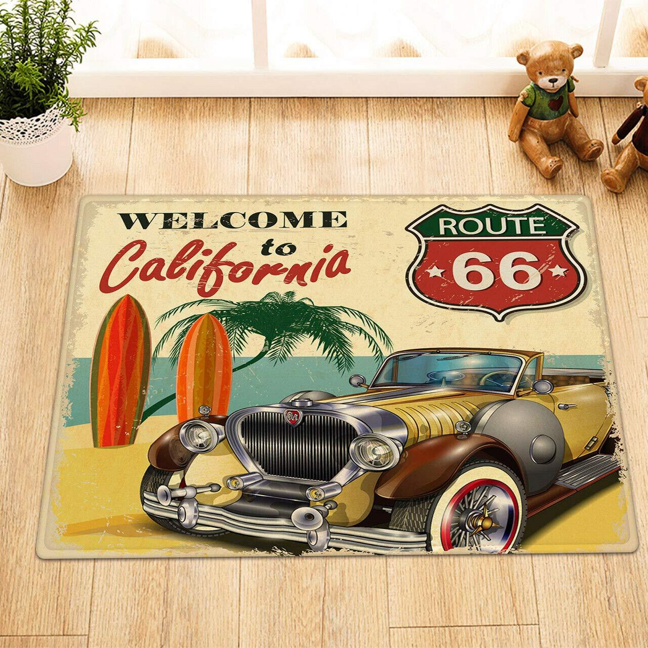 Vintage Classic car Door Mat Bathroom Carpet Non-Slip Bedroom Bedroom Kitchen Bathroom Shower Floor 15.7x23.21in