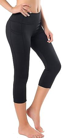 43dde7c91c33f Neonysweets Women's Capri Yoga Pants Active Workout Pants Running Leggings  Side Pockets Black S