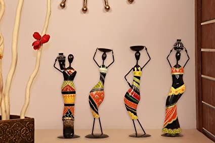 Exceptional Idols U0026 Figurines Showpiece Center Piece Home Decor Items Metal Handicraft  African Yellow Umbrella Single Lady