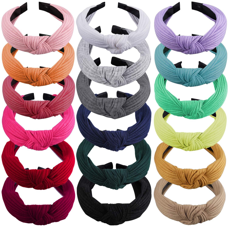 SIQUK 18 Pieces Top Knot Headband Wide Turban Headband Cloth Cross Knot Headbands for Women and Girls by SIQUK