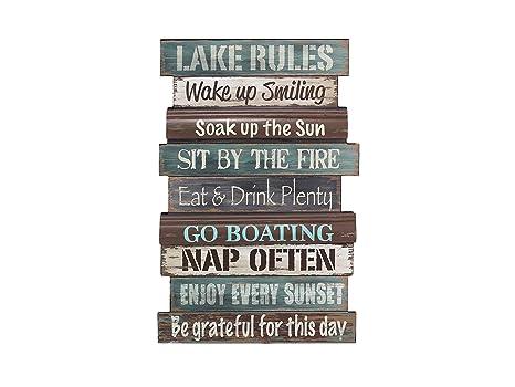 Amazon.com: Letrero de pared de la regla del lago de madera ...