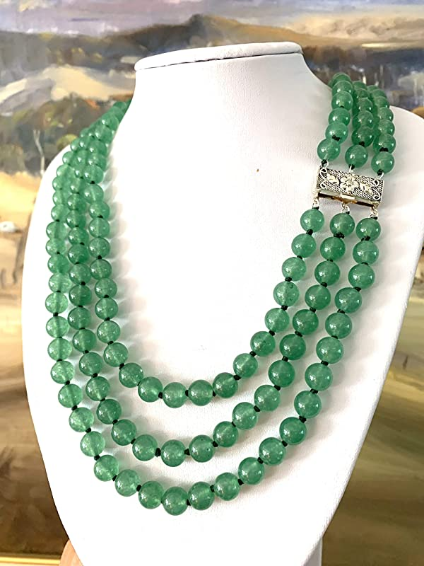 Details about  /Hand Knotted Green Jade Round Bead Necklace NWT 8 mm 24 inches Filigree Clasp