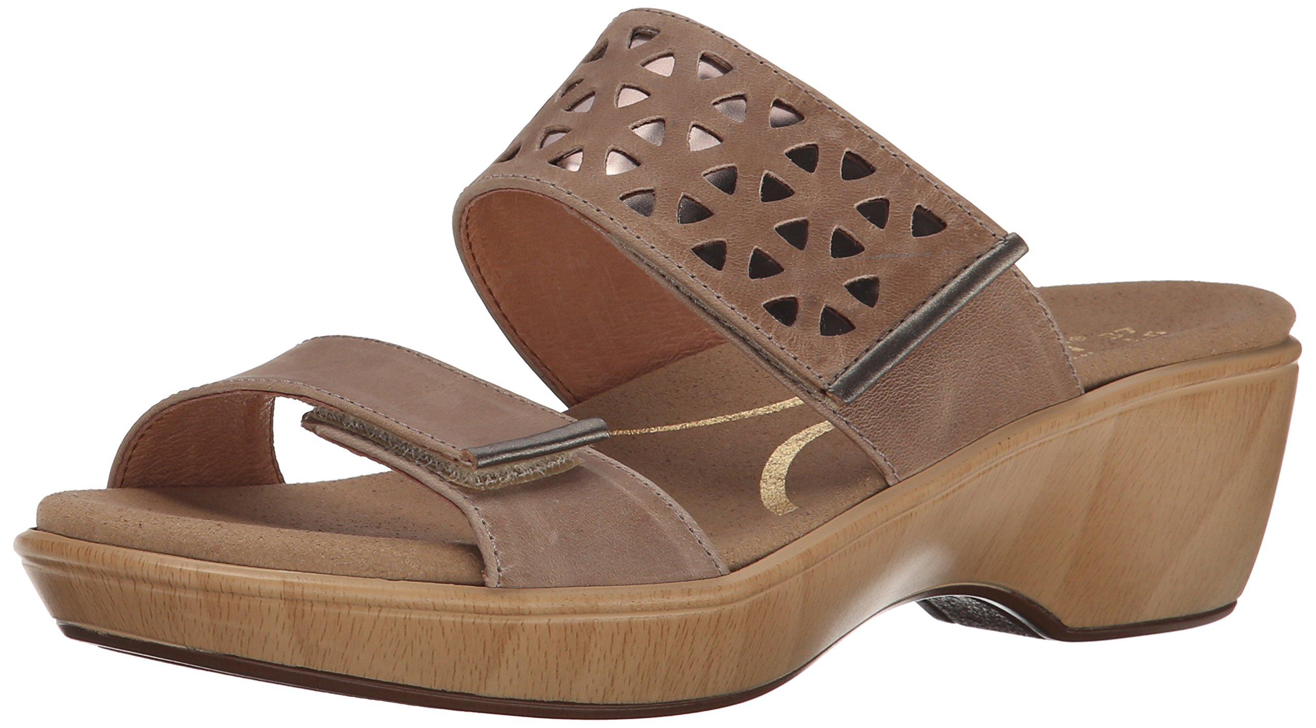 Naot Women's Moreto Wedge Sandal, Khaki Beige/Glass Silver/Pewter, 40 EU/8.5-9 M US