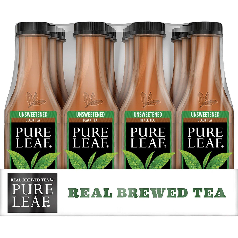 Pure Leaf Iced Tea, Unsweetened, Real Brewed Black Tea, 0 Calories, 18 5 Fl  Oz, Pack of 12
