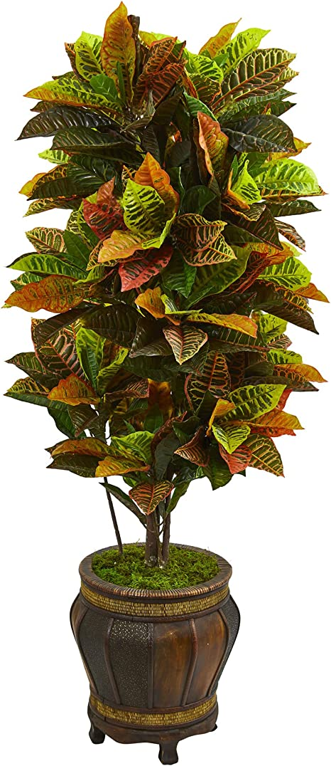 Nearly Natural Croton Artificial Plant In Planter 5 5 Home Kitchen