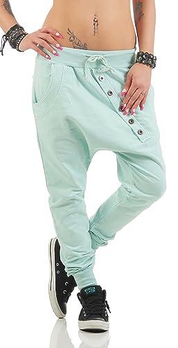 ZARMEXX Unisex Boyfriendhose con el botón pantalones holgados pantalones de deporte de ocio Sweatpan...