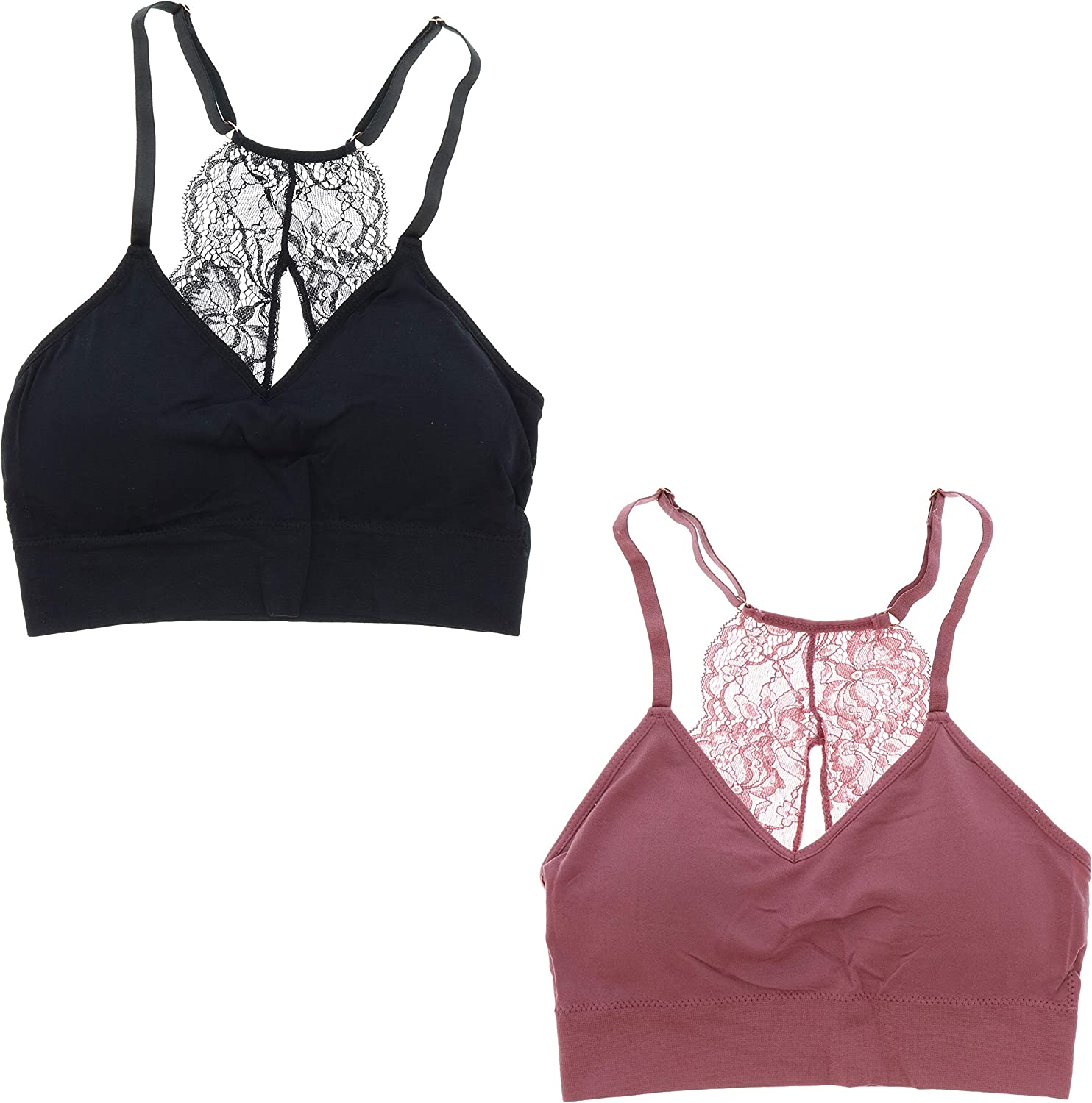 Marilyn Monroe Intimates Women S Sexy Bralette With Lacey Racer Back 2 Bras Small Black Mauve At Amazon Women S Clothing Store