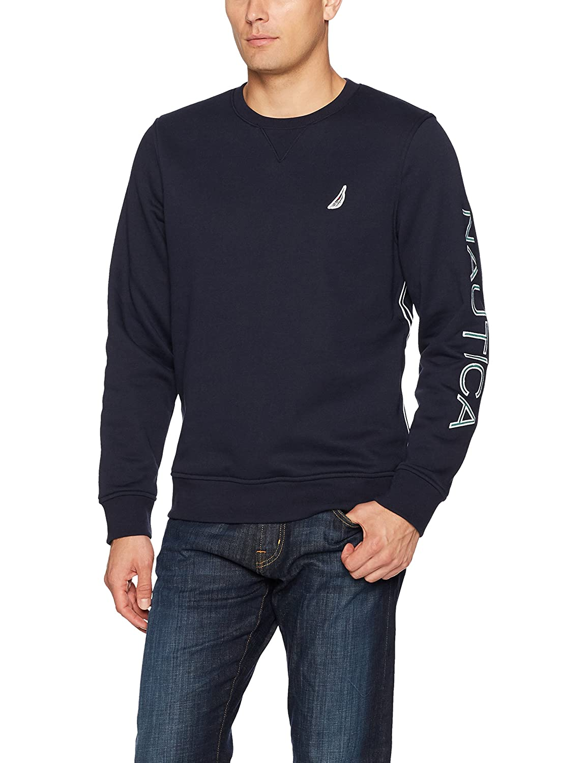 Nautica Men's Long Sleeve Tech Fleece Piece Dyed Crewneck Top K73374