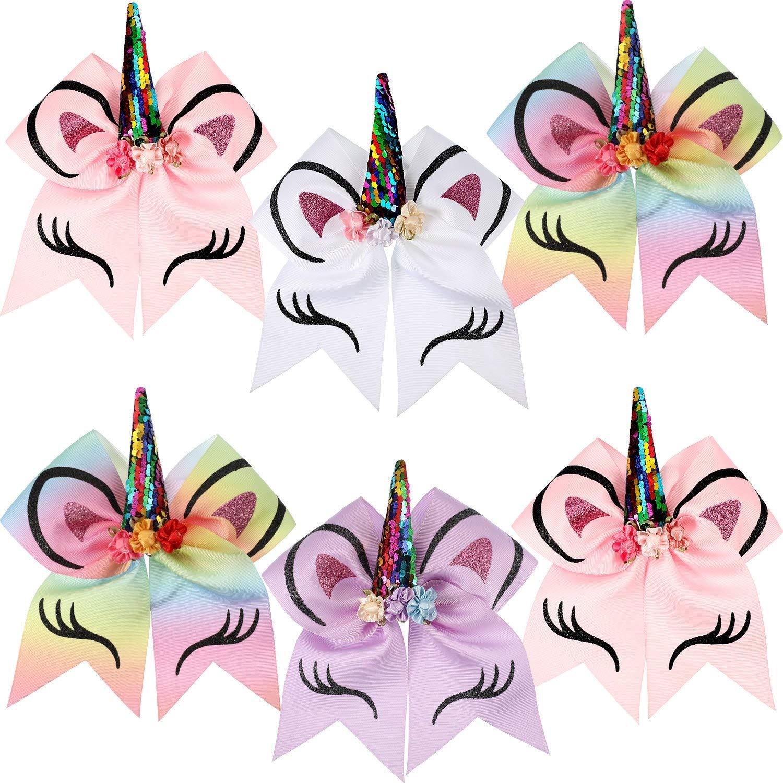 6 Pieces Unicorn Shape Cheer Hair Bows Colorful Elastic Headband Grosgrain Bows for Girls, 7 Inch Allure Maek