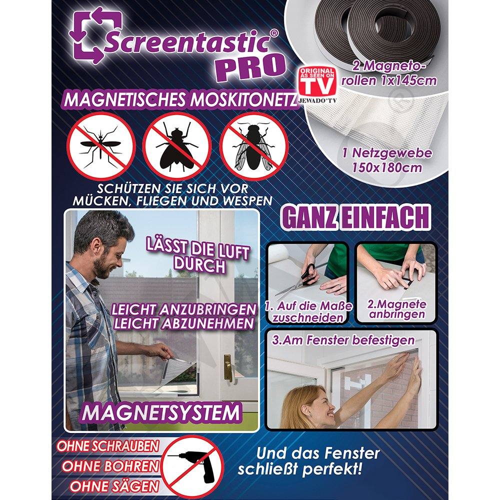 Screentastic® Pro Magnetic Mosquito Net for Windows (Insect Protection, Fly Screen, Mosquito Screen), Mesh Size:  150 x 180 cm - Original as Seen on TV Screentastic by JEWADO