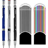 3 Pieces 2.0 mm Mechanical Pencil with 2 Cases Lead Refills, Color and Black Refills for Draft Drawing, Writing, Crafting, Art Sketching